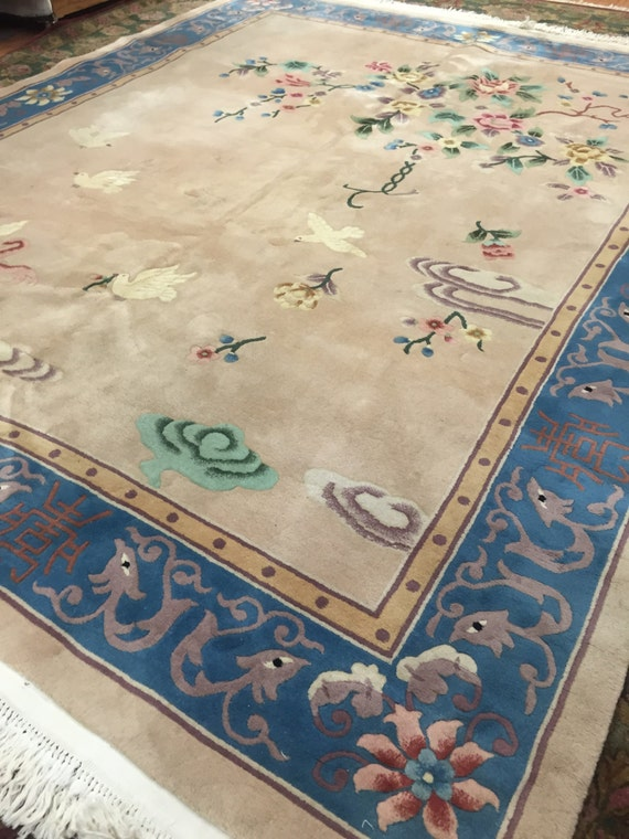 8 x 10 chinese art deco oriental rug hand made full pile 100 wool