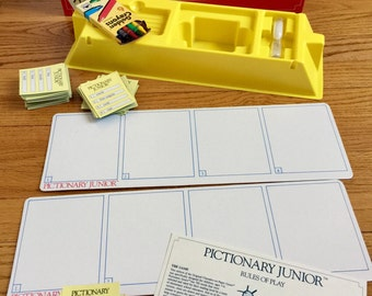 Vintage 1980s Childrens Game / Pictionary Junior 1987 Like-New The Game of Quick Draw for Children / Draw Clue Guessing Game