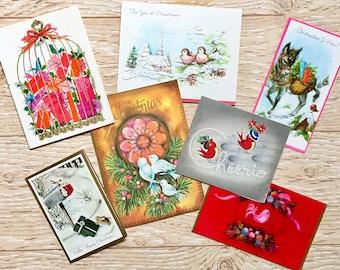 7 Vintage Christmas Bird Cards, Midcentury Bird Cards, 1940s-1960s Christmas Cards, Christmas Doves