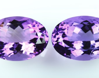 Natural Amethyst Facetted Pairs. 13x18 MM Ovals. Deep Purple. Matching Pairs. Clean. No Treatment.