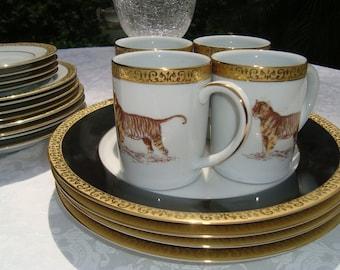 Luxe Royal Gallery Gold Buffet LEOPARD ... & Porcelain leopard   Etsy