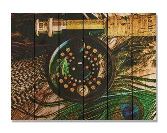 Fly Fishing Reel on Cedar. Indoor and Outdoor Wall Decor. Wall Hanging Fishing Print (FR2216/3324)