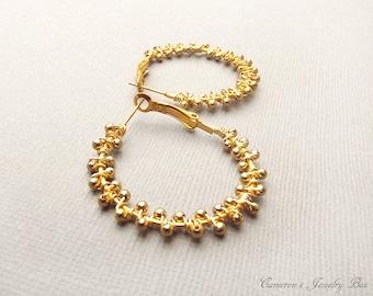 Gold Hoop Earrings, Wire Wrapped, Beaded Hoop Earrings, Gold Hoops, Bohemian Earrings, Gold Jewelry
