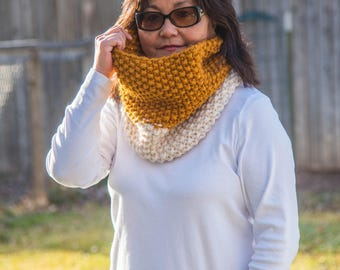 Knit Cowl, Two Color Knit Cowl Scarf / Chunky Knit Cowl / Butterscotch and Fisherman