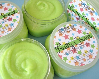 Fruity Cereal - Emulsified whipped Sugar Scrub  - Teen Kid Scent - Body Polish - Bath and Body - Exfoliating - 4 oz
