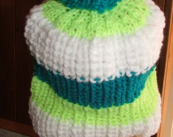 Mixed Hat white, lime green and blue oil - beaded sides - handmade