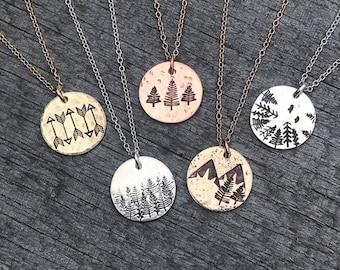 Adventure Pendants, Wilderness Necklace, Rustic Jewelry, Mountain Necklace, Trees Necklace, Arrows Necklace, Necklaces, Metal Hounds Jewelry