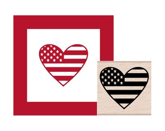 American Flag Heart Rubber Stamp