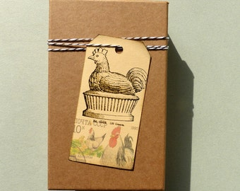 Chicken stamp / Chicken on a pedestal / Unmounted rubber stamp or cling stamp option (130717)