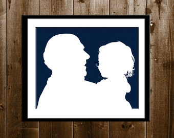 Custom Father's Day Silhouette Portrait, Grandpa and Granddaughter Gift, Silhouette Art Print, Father Daughter Silhouette from your Photo