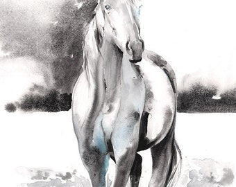 Horse Print, Horse Painting, Horse Art, Print of Watercolor Horse, Horse Watercolor, Horse Illustration, Black and white horse, Cate Parr