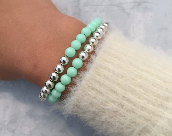 Mint and Silver Beaded Bracelet
