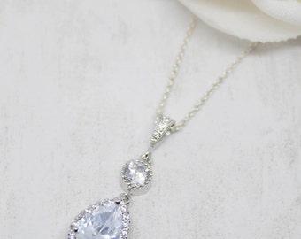 Necklace Silver Drop crystal cubic zirconia wedding Bridal Jewelry