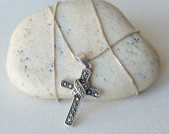 Sterling Silver Marcasite Cross Pendant Chain Necklace Vintage Retro Jesus Cross, Marcasite Christian Jewelry 925 Catholic Art Deco Cross