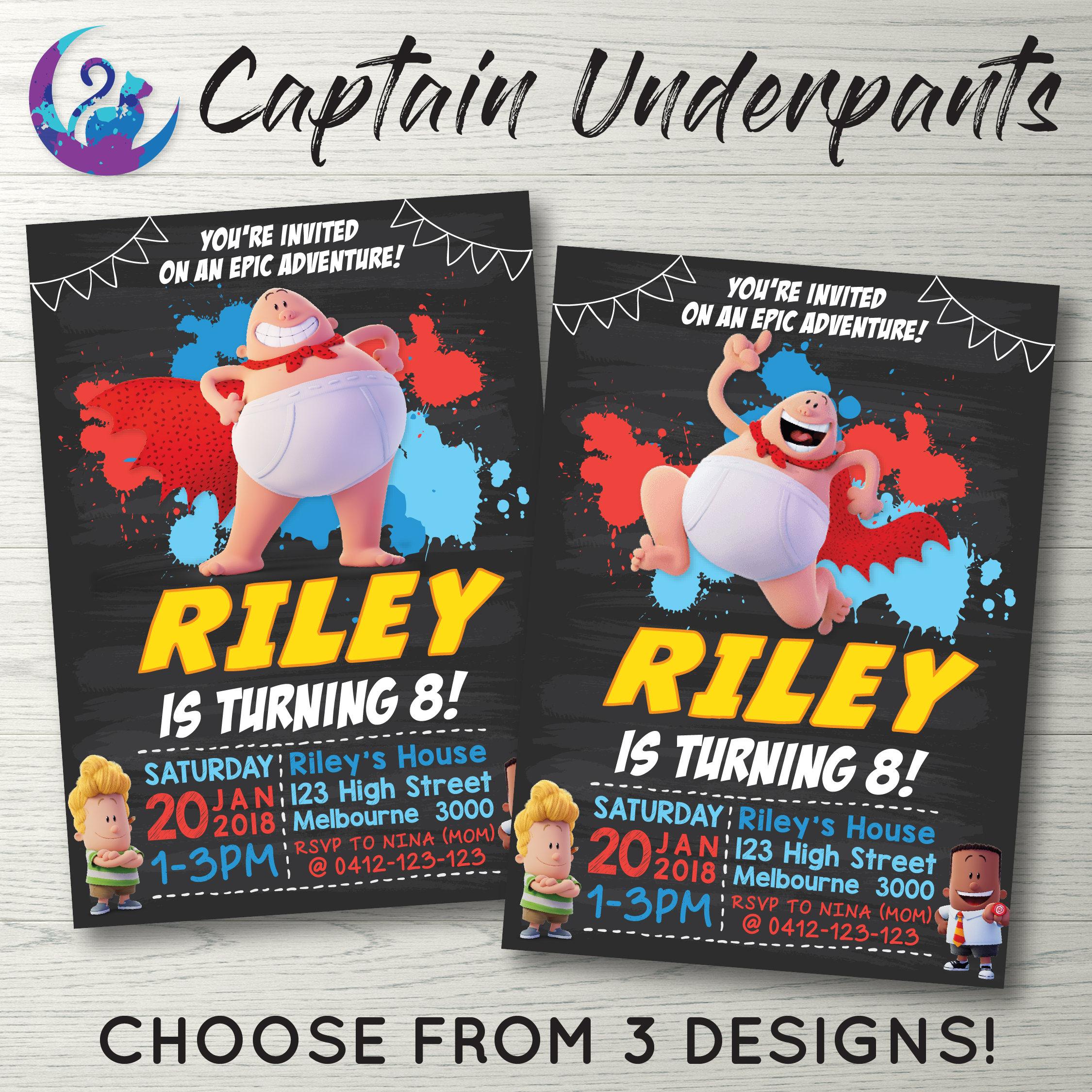 Captain Underpants Invitation Captain Underpants Invite