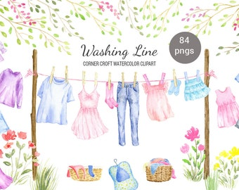 Watercolor washing line clipart, clothes line clipart, fashion clothes, shirt, dress, jeans and pegs for instant download