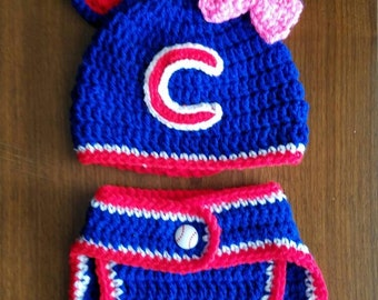 Chicago Cubs hat and diaper cover set.