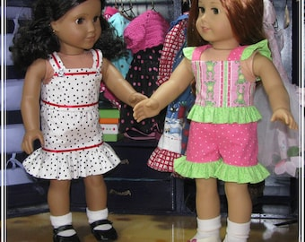 """Pattern for Ruffles Galore! Top, Skirt and Shorts for 18"""" dolls such as American Girl"""