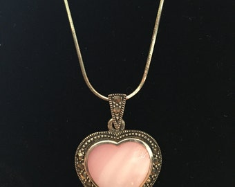 Heart Necklace Marcasite and Pink Mother of Pearl Sterling Silver 925