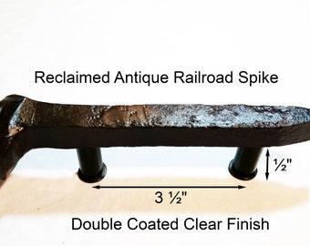 "3 1/2"" Left Sealed Railroad Spike Cupboard Handle Dresser Drawer Pull Cabinet Knob Antique Vintage Old Rustic Re-purposed House Restoration"