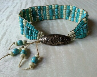 Handmade Turquoise and Seed Bead Bracelet