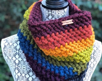 Cowl Infinity Scarf // Rainbow // Handmade Crochet Chunky Knit - MADE TO ORDER
