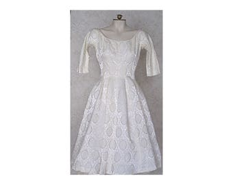 Vintage 1950s Gigi Young Ivory Brocade Party Dress / 50s Wedding Dress / Vintage White Dress