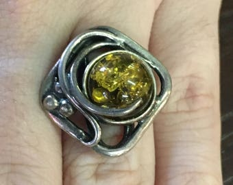 Sterling Native American Amber Ring