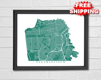 San Francisco Map Art - Map Print - Custom Map - San Francisco California - Anniversary Gift - Map Art - Home Map - Home Decor