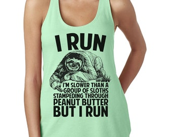 Sloth Tank Top - Sloths Running Tank Top - Funny Next Level Ladies Poly Cotton Racerback Tank - Item 2841