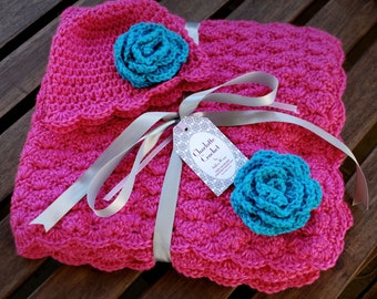 Crochet Baby Blanket with Matching Hat - Watermelon Pink