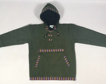 L - XXL Fleece Lined Smock Style Cotton Hooded Cacket - Made In Nepal