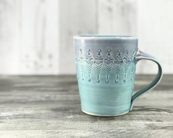 Big handmade pottery mug. Purple to turquoise ombré glazed mug.  Large porcelain mug. Favorite pottery mug, stamped texture. 16 ounce mug.