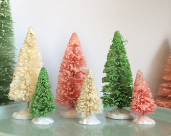 Pastel Sisal Tree Set: Pale Pink, Mint Green, And White Bottle Brush Tree