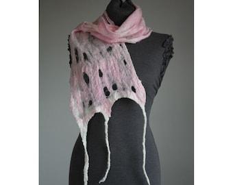 """Cobweb Felt Scarf """"Pale Peonie"""" Beautiful, Handmade, One off Felted Accessory soft, warm"""