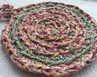Rose Garden Trivet/Rag Rug Crocheted Trivet/ Hot Pad/ Pot Holder
