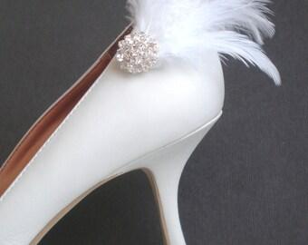 Marabou Feathered Bridal Shoe Clips.. Elegant Rhinestones