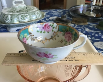 Painted Rose Tea Cup Shabby Chic Cup Little White Tea Cup Only /