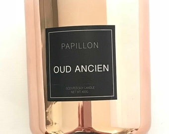 Oud Ancien - Woody Musk, Leather, Amber and Patchouli HIGHLY SCENTED CANDLES | Soy candle. Hand-poured. Scented candles