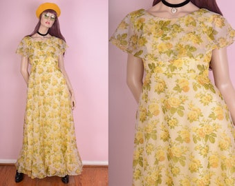 70s Floral Print Maxi Dress/ Small/ 1970s