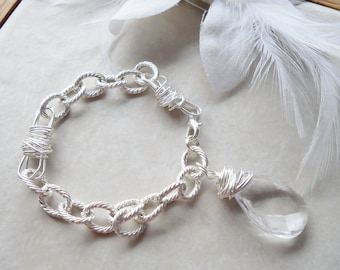 Chunky Silver Chain Bracelet with Wrapped Teardrop