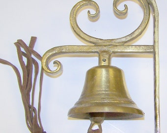 Wall Mounting Bell of solid brass with leather pull - Handmade in Austria