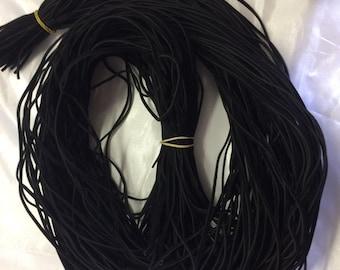"Imitation Leather (Pleather) Black 1/8"" Lace. 100 laces."