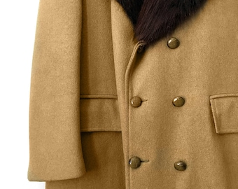 Vintage, 1960's, Made in Canada, Camel, Tan, Dark-Brown, Fur-Collar, Midi-Length, Double-Breasted, Coat