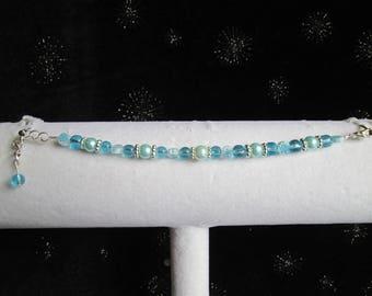 Children's Aqua Glass, Pearl, Glass Flower Beads and Silver Bracelet