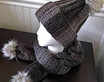 Scarf and hat set,Crochet Scarf,Crochet Infinity Scarf, Women's Scarf,Beanie Scarf set ,FauxFur Pompom,Color Black/Gray,Cowl Scarf