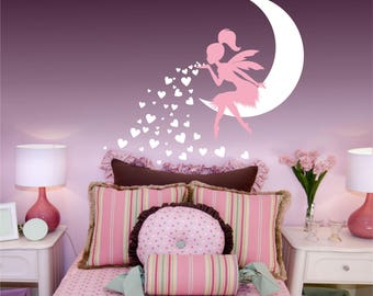 Fairy Blowing Hearts wall decal, Nursery Art Nursery Decor Fairy, Fairy Wall Decal sticker, Babys Room Fairy wall decor, girls room decor