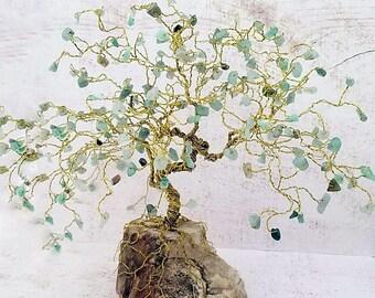 Bonsai Gem Tree, Lucky Tree, Green Aventurine, Positive Energy, Good Luck Gifts, Feng Shui Decor, Anniversary Gift, Wedding Gift, Friendship
