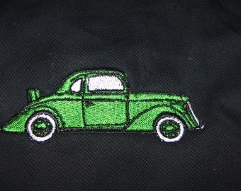 APRON Antique Car Embroidered Apron Green Vintage Old Fashioned BBQ - Ready to Ship