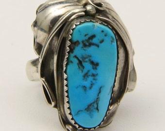 Vintage Sterling Silver & Large Turquoise Stone Artisan Ring Southwestern